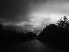 Rainy Drive (Harley Mitchell) Tags: rain rainy drive street gloomy dark storm thunderstorm nature blackandwhite