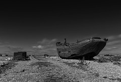 High & Dry (merseamillsy) Tags: wreck ruins boat desolate building dungeness wooden coastal equipment moody sky seascape abandoned coast coastline traditional