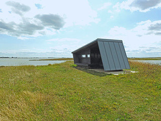 A shelter at the end of the sea wall, Wallasea Island, Essex