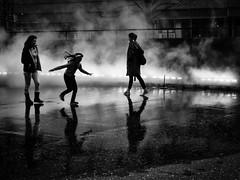 London Fog (donvucl) Tags: london tatemodern fujikonakaya foginstallation londonfog watervapour figures reflections movement bw blackandwhite olympusem1 donvucl textures urban girl hair