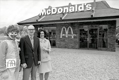 March 1971 Mcdonald's Grand Opening (Brett Streutker) Tags: restaurant cafe diner eatery food hamburger cheeseburger eat fast burger vintage colonel sanders kentucky fried chicken big mac boy french fries pizza ice cream server tip money cash out dining cafeteria court table coffee tea serving steak shake malt pork fresh served desert pie cake spoon fork plate cup drive through car stand hot dog mustard ketchup mayo bun bread counter soda jerk owner dine carry deliver