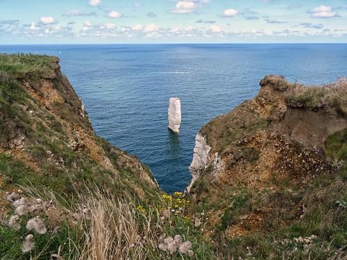 Fantastic rock formations at the cliffs of Etretat