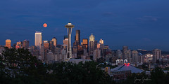 Blood Moon . . . (jeremyjonkman) Tags: seattle blood moon red smoke extreme skyline montage space needle city full key arena pacific science center rise forest fire fires