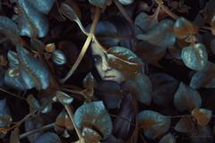 invisible (Kathy Chareun) Tags: art arte leaf hoja hojas autorretrato autoretrato selfportrait woman mujer sad sadness tristeza triste face cara eye ojo planta plant day dia dark oscuridad alone soledad solo sola miedo afraid negative negativo