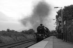 Storming Wilpshire bank (Andrew Edkins) Tags: 45690 leander langho railwayphotography railwaystation trip travel steamtrain wilpshirebank lms stanier geotagged canon platform thefellsman uksteam