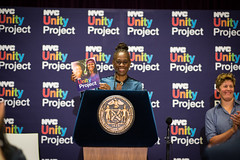 First Lady Chirlane McCray announces the NYC Unity Project as a citywide initiative to support LGBTQ youth on Tuesday, September 19th, 2017. After she toured The Lesbian, Gay, Bisexual, and Transgender Community Center . Edwin J. Torres/Mayoral Photograph (nycmayorsoffice) Tags: lgbtq nyc unityproject unity love gay lesbian transgender youth rainbow