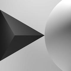 ECOS: Exploring Compositions Of Shapes => Img. 08 (Michalis_Kalamenios) Tags: bw grey calm equilibrium exploring experimental graphic contrast computer white black simple minimal tones balance geometry geometrical monochrome ecos 3d render cgi art composition shapes light sphere transparent translucent