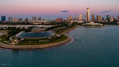 Chicago Dawn (Mehul J Dave) Tags: chicago dawn sunrise aerial drone skyline lakemichigan adler planetarium south loop aquarium city