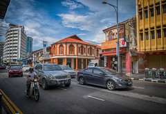 A late afternoon along Penang Street (stratman² (2 many pix!)) Tags: canonphotography powershotg7xmarkii penangroad georgetown street citypulse traffic tonemapped flickrelite colorful city creativecommons