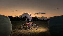 Me & Bike (Rob Pitt) Tags: off camera flash the test wirral cheshire oak yongnuo wireless trigger rob pitt photography darkness sky portrait self bicycle mountain bike orangeg22012 orangebikescouk sunset