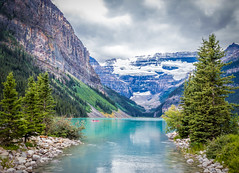 Beautiful Lake Louise (Shutterbytes by Michele Hamilton) Tags: alberta canada july2015 lakelouise canoe clouds mountains snow lake water nature peaceful tranquil picturesque