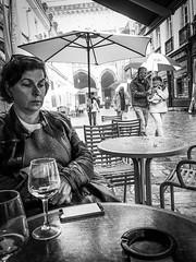Here comes the rain again (Amotz Cohen-Paz) Tags: dijon joy melancholy rain umbrella café vin dimanche