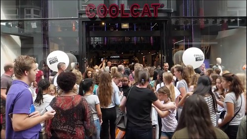 Ballonpilaar Smal Rond Meet & Greet Gio & Melanie Coolcat Lijnbaan Rotterdam