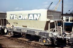 c.1973 - (possibly) Westbury, Wiltshire. (53A Models) Tags: britishrail fosteryeoman pga hopper fy14 goodswagon freightcar westbury wiltshire train railway locomotive railroad
