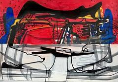 Jim Harris: Ohne Titel. (Jim Harris: Artist.) Tags: drawing dessin technology technik red contemporaryart zeitgenössische zeichnung konst kunst künstler kunstzeitgenössische lartabstrait