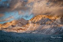 Sunrise lights up Mount Audubon and Piute Peak