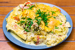 Baked creamy cheesy eggy cabbage (garydlum) Tags: greenbeans chilliflakes cabbage bacon eggs blackpepper belconnen parsley currypowder streakybacon jalapeñopeppers chillies springonions birdseyechilli cream canberra cheese tomato