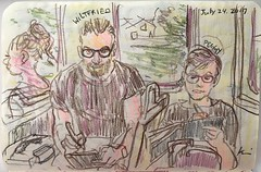 portrait battle in the train (kumi matsukawa) Tags: uskchicago2017 sketch symposium