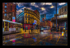 The colours of Friendship (Kev Walker ¦ Back in October) Tags: architecture building bus buses canon1100d canon1855mm citycentre colorfull england hdr lancashire manchester northwest outdoor photoborder sky street taxis tracks tramlines trams
