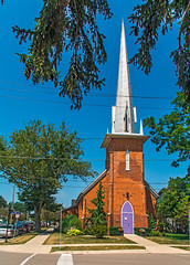 The Mauve Church Door (fotofrysk) Tags: mauve door churchdoor spire church stpaulsanglicanchurch stgeorgeandmarketstreets trees lake lakeerie water sunshine beach canada ontario portdover sundaydrive southernontario sigma1750mmf28exdcoxhsm nikond7100 201707304411
