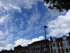 """""""How sweet to be a cloud, floating in the blue"""" (quietpurplehaze07) Tags: winchester architecture clouds sky blue white streetshot"""
