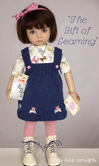 """The Gift of Learning"" made for the Little Darlings. (Cindy Rice Designs) Tags: doll dress littledarlings effner embroidery jumper pinafore knit"