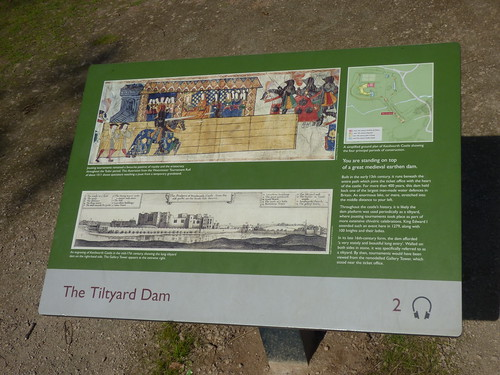 Kenilworth Castle - sign - The Tiltyard Dam