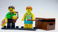 Brick Yourself Custom Lego Figure  Girl with Pool Cue and Soap Box
