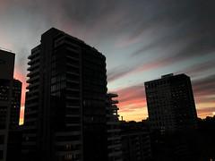 Falling buildings (doubleshotblog) Tags: sunsetoverthecity city streets perspectivedistortion businessdistrict northsydney fallingbuildings coloursinthesky sunset buildings