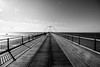 2017_244 (explored) (Chilanga Cement) Tags: nikon nik nikondf bw blackandwhite southport southportpier sky clouds clock sea perspective lines shadows sunlight sunshine coast coastline 14mm wide wideangle