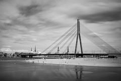 IR Experiments & swimmers (MarxschisM) Tags: latvia riga river daugava ir filter bw conversion bridge swimmers beach xt1 samyang21 ir760