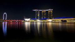Marina Bay Sands (HansPermana) Tags: singapore southeastasia asia asean island city cityscape landmark reflection longexposure mbs marinabaysands singaporeflyer lights nightshot night nightscape modern futuristic