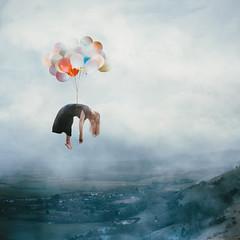 Floating Away (laurawilliams▲) Tags: balloons levitation fog mist smoke floating laura williams landscape surreal surrealism selfportrait