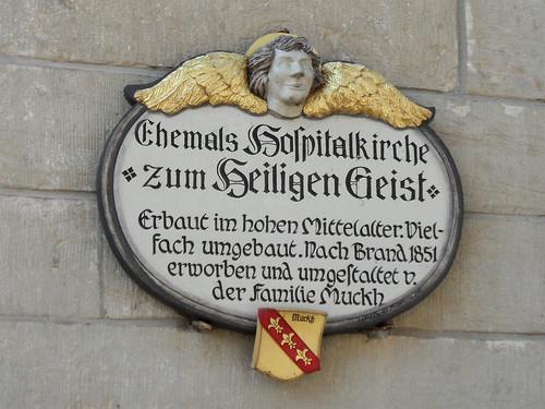 Bad Wimpfen - Tafel an der ehemaligen Hospitalkirche zum Heiligen Geist