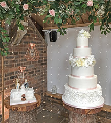 Tall Ruffled Cake and Top Table Cake