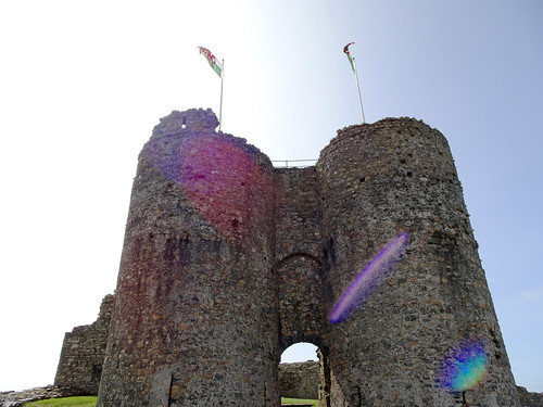 Lens flare at Criccieth Castle