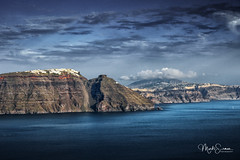 Santorini landscape (marko.erman) Tags: oia santorini cyclades thira island caldera volcano crater slope steep village white houses whitepainted sony wide angle perspective scenic beautiful travel popular greece sea water clouds sky landscape