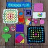 Things I found on my dining table while looking for the surface (crochetbug13) Tags: crochet crocheted crocheting crochetbug crochetsquares grannysquares texturedsquares crochetham amigurumiham earwarmers headband crochetrectangle crochetpeacesign
