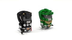 Brickheadz Mighty Morphin Power Rangers Pair 3 (lewissmith1) Tags: brickheadz lego powerrangers power rangers mighty morphin mmpr saban 90s tommy oliver zack green black