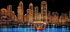 Lake Ride on the Dubai Burj Khalifa Lake (Christian_from_Berlin) Tags: dubai burj burjkhalifa lake boat skyscraper skyline dusk downtowndubai water dream bluedream unitedarabemirates
