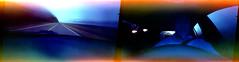 Pinhole dashcam (FreezerOfPhotons) Tags: pinhole pinholeprintedcom flyer pinholeprintedflyer kodakvericoloriii160unperforated unicolorc41 homec41 movingpinhole longenoughexposureforblurlines pinholedashcam experimentalfilm morningcommutethroughthewoods commute unexpectedcolor fantasticcolors offcolors 35mm