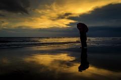 Keep a weather eye on the horizon!! (ashik mahmud 1847) Tags: bnagladesh d5100 nikkor sunset woman alone water colorful reflection coxsbazar ngc