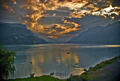 Switzerland Twilight time on Thunersee . August 27,2009 No. 119. (Izakigur) Tags: 2009 twilight twilighttime coucherdesoleil lasuisse thelittleprince ilpiccoloprincipe nikkor nikkor1755f28 nikond200 switzerland switzerlnad myswitzerland musictomyeyes dieschweiz d200