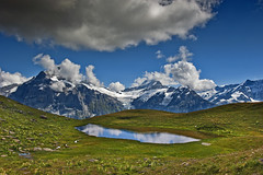 Hiking in Switzerland ; Grindelwald , First , above Bachsee .Switzerland. Izakigur  22.08.15, 14:33:36 No. 8954.. (Izakigur) Tags: zen trift switzerland svizzera lasuisse lepetitprince helvetia liberty izakigur flickr feel europe europa dieschweiz ch musictomyeyes nikkor nikon suiza suisse suisia schweiz suizo swiss سويسرا laventuresuisse myswitzerland landscape alps alpes alpen schwyz suïssa bachsse grindelwald water eau acqua cloud summer hope nature free d700 nikond700 nikkor2470f28
