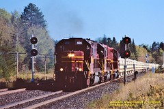 (SEE & HEAR)-DMIR 404-416-210 n, Iron Jct, MN. 10-06-2003 (jackdk) Tags: train railroad railway emd emdsd40 emdsd402 emdsd403 emdsd40t2 emdsd452 sd40 sd402 sd403 sd40t2 sd452 tunnelmotor sp southernpacific dmir duluthmessabiandironrange stone stonetrain signals standardcab seeandhear seehear