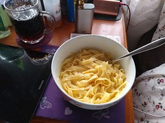 23Sep17 Fettucine Mac & Cheese. I can't use the pasta that comes with Easy Mac, so I use what works for me. Was delicious! #latergram #2017pad #photoaday #picaday