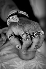 Hands002 (Bobby's Road Photography) Tags: hands mains punk tattoo ink inked cigaret bague rings ganja cannabis jean jeans skull gothic jewels jewelry bijoux monochrome blackandwhite