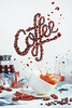 Coffee cup with letters made of beans and a splash (Dina Belenko) Tags: coffee splash espresso background beverage breakfast caffeine cup delicious drink drop food hot liquid morning motion mug object refreshment spill table white saucer aromatic natural bean relax roast wave energy flow action lettering message cinnamon stilllife cooking flying float levitation mess magic anise roasted color letter brew text break
