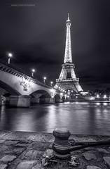 Eiffel Tower.. (f.ray35) Tags: paris eiffel quai seine night river blackandwhite noiretblanc monochrome