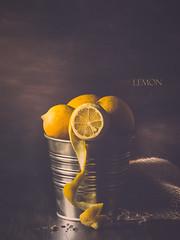 Lemon (cristina.g216) Tags: lemon limón still rustic zinc madera wood gotas drops amarillo yellow rústico